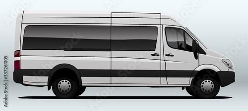 White van for transportation in vector.