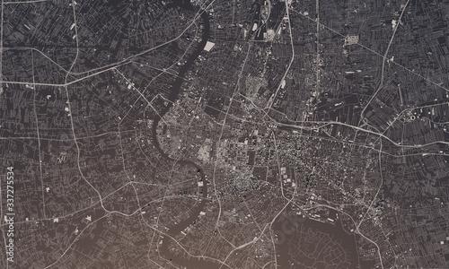 Obraz na plátně Bangkok, Thailand city map 3D Rendering. Aerial satellite view.