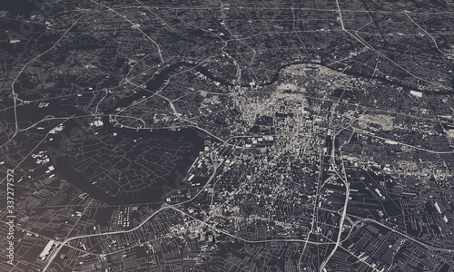 Fotografie, Obraz Bangkok, Thailand city map 3D Rendering. Aerial satellite view.