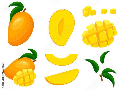 Photo Set of fresh whole, half, cut slice mango fruits isolated on white background