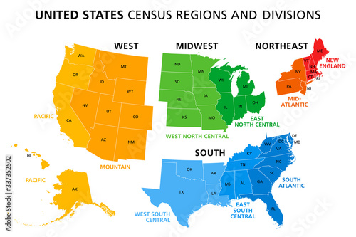 Foto Map of United States split into Census regions and divisions