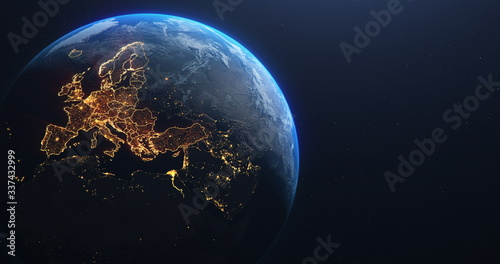 Planet Earth from Space EU Europe Countries highlighted, elements of this image courtesy of NASA