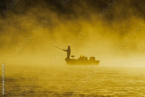 Canvastavla Silhouette Man Fishing While Standing In Boat On Lake During Foggy Weather