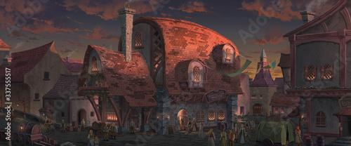 Fotografia, Obraz An illustration of the big medieval fantasy tavern.