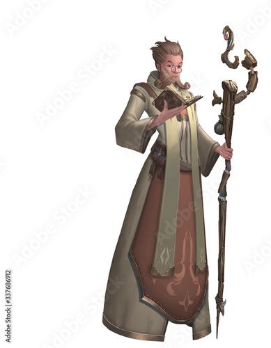 Fototapeta A digital illustration of fantasy old man priest character design