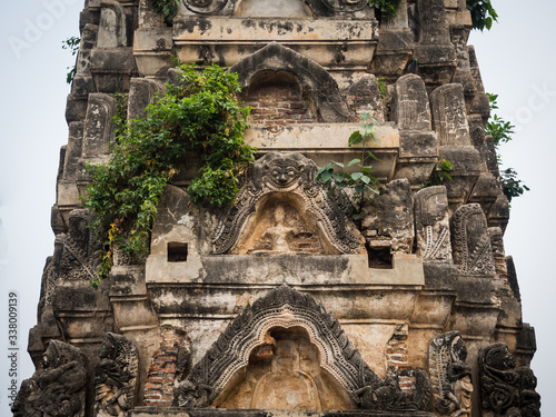 Wallpaper Mural Low Angle View Of Overgrown Historic Temple, Sukhothai, Thailand