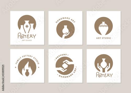 Fotografija Set of vector logo layouts for art studio, pottery or ceramic studio