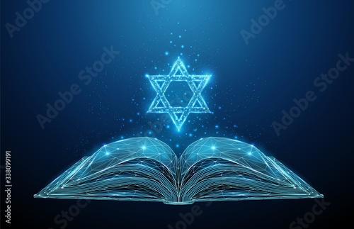 Obraz na plátně Abstract open Torah book with star of David