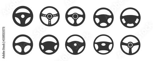 Fotografie, Tablou Car Steering wheels icon set, isolated on white background, vector Illustration