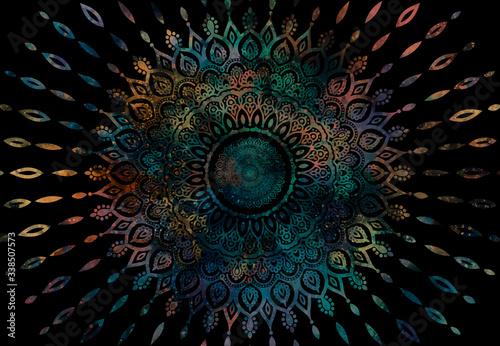 Fototapeta Abstract mandala graphic design and watercolor digital art painting for ancient
