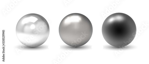 Fotografía Set of vector spheres and balls on a white background with a shadow