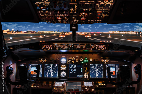 Fotografie, Tablou Dramatic Full view of cockpit modern Boeing aircraft before take-off