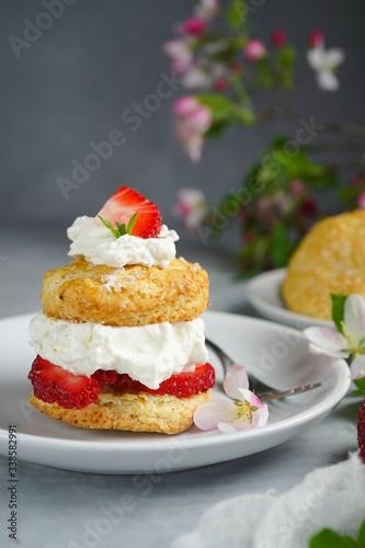 Homemade Strawberry shortcake with stuffed cream topping, selective focus Tapéta, Fotótapéta