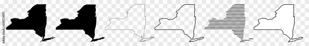 New York Map Black | State Border | United States | US America | Transparent Isolated | Variations