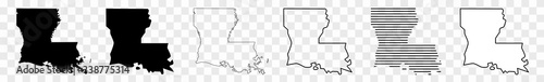 Fotografie, Obraz Louisiana Map Black | State Border | United States | US America | Transparent Is