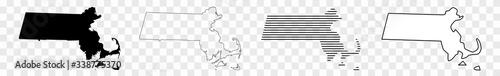 Fotografia Massachusetts Map Black | State Border | United States | US America | Transparen