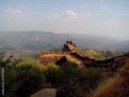 Fotografija Pratapgad Fort On Mountain Against Sky