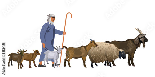 Tablou Canvas Shepherd with a herd of goats and sheep