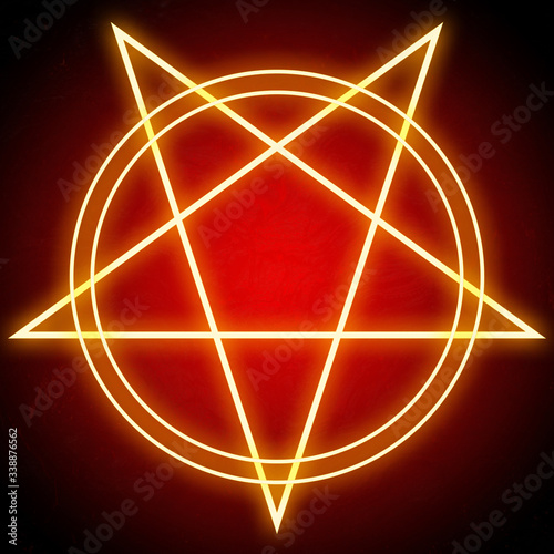 Photo Glowing bright pentagram star and double circles shining red on dark background