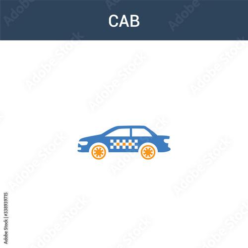 Fototapeta two colored Cab concept vector icon