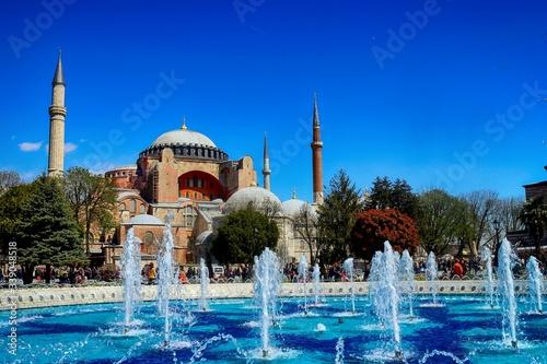 Valokuva Water Fountain And Hagia Sophia Against Clear Blue Sky