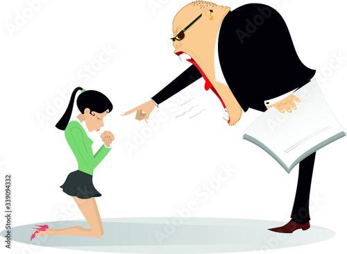 Fotografia, Obraz Angry boss scolds an employee woman illustration