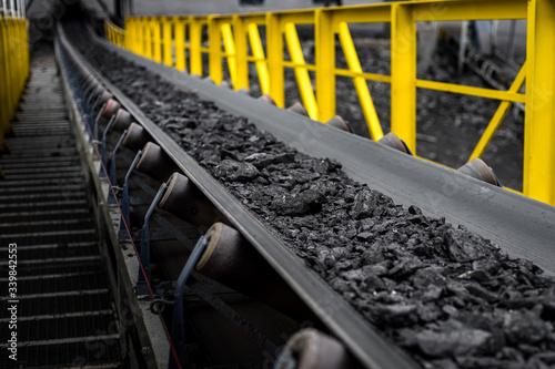 Wallpaper Mural opencast mine - belt conveyor - coal, stones - transport