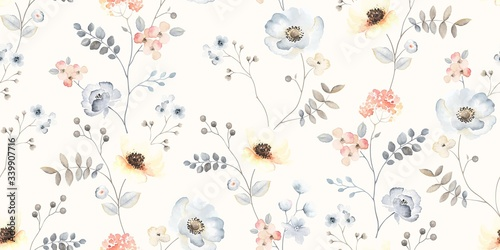 Flower seamless pattern with abstract floral branches with leaves, blossom flowers and berries. Vector nature illustration in vintage watercolor style on light yellow background.