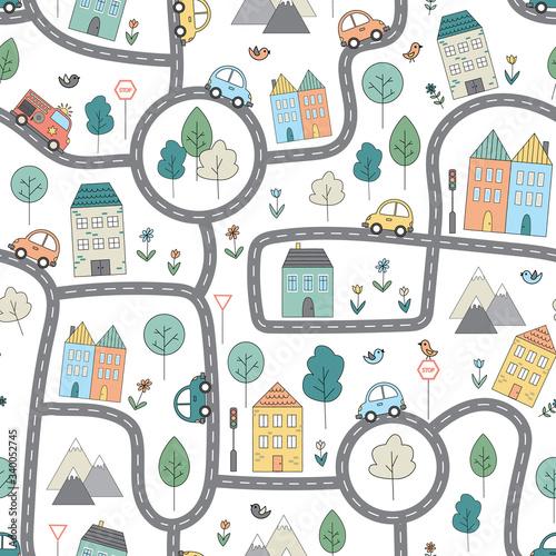 Plakat z mapą miasta dla dzieci