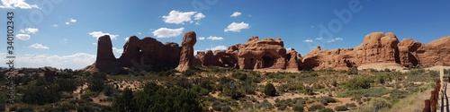 Panoramic View Of Rock Formations At Arches National Park Against Sky Fototapeta