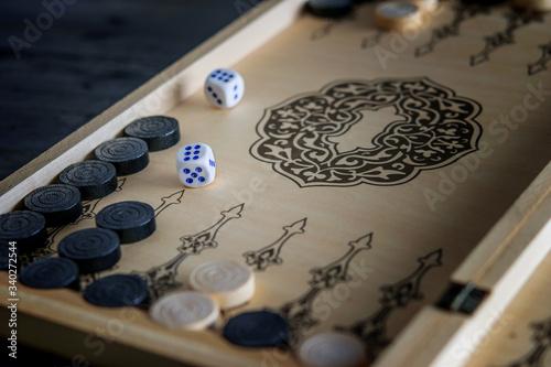 Carta da parati Wooden board of backgammon table game