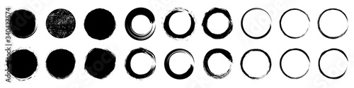 Fotografija Set different circle brush strokes, hand drawn paint brush circle logo frame – f