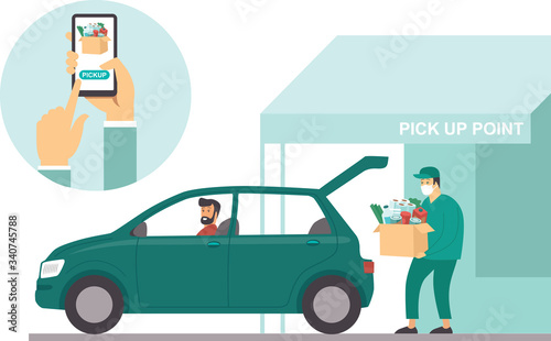 Photo Pick up point in food supermarket