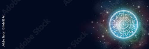 Canvas Print Astrological circle with the zodiac sign on a background of the starry sky