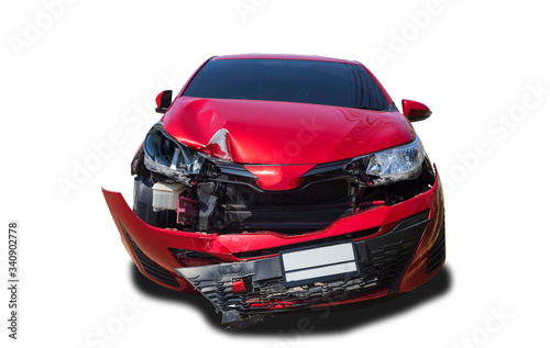 Fototapeta Front of red color car damaged and broken by accident isolated on white background