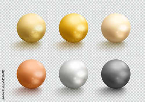 Fotografia Metal Balls Gold Silver Bronze 3d Spheres Vector Set