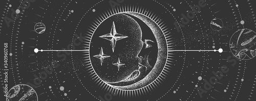 Canvas Print Modern magic witchcraft card with astrology moon sign with human face