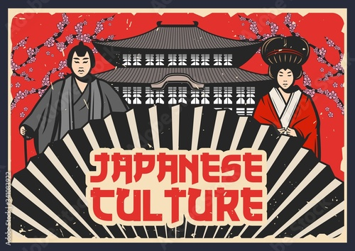 Stampa su Tela Culture of Japan, Japanese traditional Kabuki and Noh theater vector design