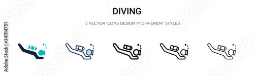 Fotografie, Tablou Diving icon in filled, thin line, outline and stroke style