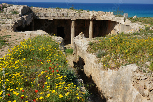 """Narrow stairway (dromos) leads to tomb number 7, burial chamber at the """"Tombs of the Kings"""" in Paphos, Cyprus Fotobehang"""