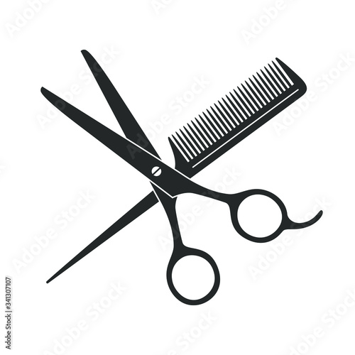 Canvas Print Scissors and hairbrush graphic icon