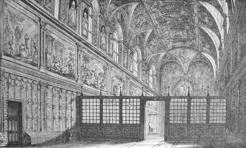 Fotografía The interior of the Sistine Chapel in the old book Michel-Ange, by F