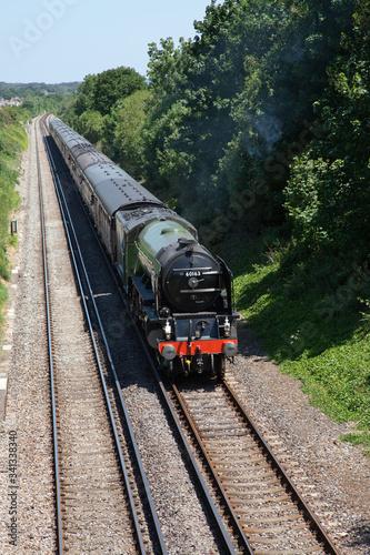 Fotografia steam locomotive 60163 Tornado on a mainline excursion train near Wareham in Eng