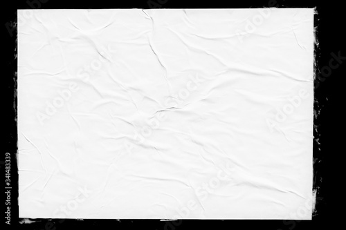 Canvas Print White paper poster mockup isolated on black background