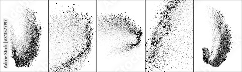 Fotografiet Set of explosion black grainy texture isolated on white background