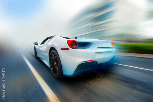 Photo High speed, sport car racing on blure background. 3d illustration