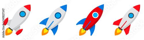Fotografia Rocket icons set. Spaceship launch icon. Vector
