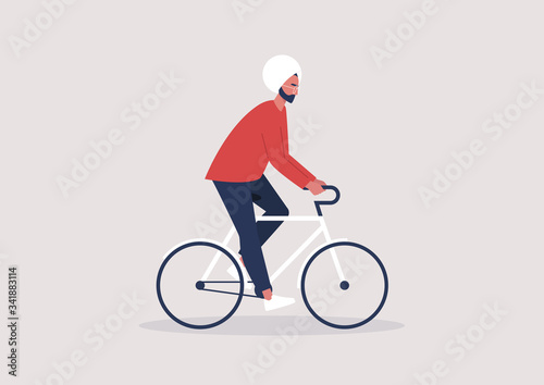 Canvas Print Young indian male character riding a bike, millennial lifestyle