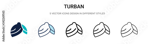 Fotografie, Obraz Turban icon in filled, thin line, outline and stroke style