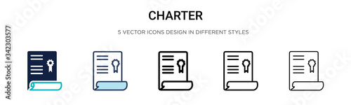Fotografia Charter icon in filled, thin line, outline and stroke style
